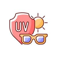 Sunglasses RGB color icon. Glasses for eye protection from UV rays. Preventing sun exposure and ultraviolet damage during heat. Isolated vector illustration. Heat stroke simple filled line drawing