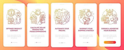 E-marketplace success onboarding mobile app page screen. Automate pricing walkthrough 5 steps graphic instructions with concepts. UI, UX, GUI vector template with linear color illustrations