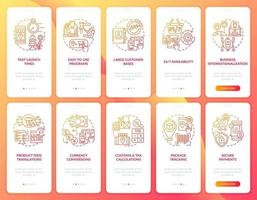 Online retailing onboarding mobile app page screens set. Ecommerce business walkthrough 5 steps graphic instructions with concepts. UI, UX, GUI vector template with linear color illustrations