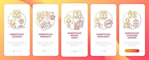E-marketplace choice criterions onboarding mobile app page screen. Service costs walkthrough 5 steps graphic instructions with concepts. UI, UX, GUI vector template with linear color illustrations