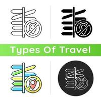 No destination travel icon. Signpost with different directions. Restriction in location. Tourism industry limitation. Linear black and RGB color styles. Isolated vector illustrations