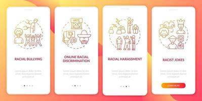 Ethnic inequality onboarding mobile app page screen. Racist jokes, cyberbullying walkthrough 4 steps graphic instructions with concepts. UI, UX, GUI vector template with linear color illustrations