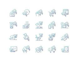 Surveillance and security systems gradient linear vector icons set. CCTV camera installation. 24 7 protection. Thin line contour symbols bundle. Isolated vector outline illustrations collection