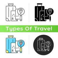 DIY travel icon. Plan trip destination for vacation journey. Traveller suitcase and map with gps pointer. Tourism industry category. Linear black and RGB color styles. Isolated vector illustrations