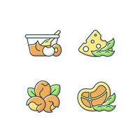 Soy ingredients RGB color icons set. Isolated vector illustrations. Vegetarian nutrition foods preparation. Organic vegetables in meal. Soybean cooking options simple filled line drawings collection