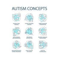 Conjunto de iconos de concepto de trastorno del espectro autista. discapacidades del desarrollo idea ilustraciones en color de línea fina. impulsividad y agresión. dibujos de contorno aislados vectoriales. trazo editable vector