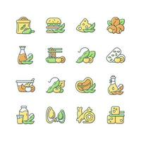 Soy foods RGB color icons set. Isolated vector illustrations. Healthy meals preparation. Vegetarian types of products. Plant based snacks. Nutritions source simple filled line drawings collection