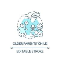 icono de concepto de niño de padres mayores. autismo factor de riesgo idea abstracta ilustración de línea fina. posponer la paternidad. diagnóstico de asd en niños. dibujo de color de contorno aislado vectorial. trazo editable vector