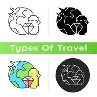 Luxury travel icon. International trip with glamour and wealth. Flight abroad for vacation. Tourism industry category. Linear black and RGB color styles. Isolated vector illustrations