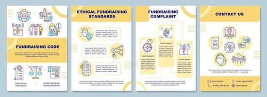 Fundraising code brochure template. Ethical fundraising standards. Flyer, booklet, leaflet print, cover design with linear icons. Vector layouts for presentation, annual reports, advertisement pages