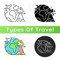 Disaster travel icon. Extreme journey for adrenaline. Volcano eruption exploration. Visit foreign country. Tourism industry category. Linear black and RGB color styles. Isolated vector illustrations