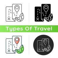 Ecotourism icon. Ethical and responsible trip. Eco friendly journey. Point of destination. Travel industry sustainability. Linear black and RGB color styles. Isolated vector illustrations