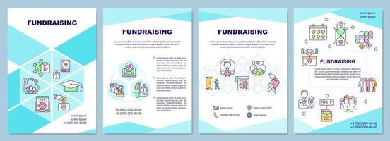Fundraising brochure template. Money raising company. Flyer, booklet, leaflet print, cover design with linear icons. Vector layouts for presentation, annual reports, advertisement pages