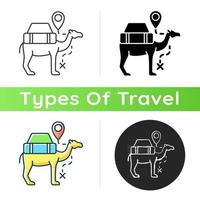 Camel caravan icon. Travel in Egypt. Mammal for safari transportation. Explore desert and dune on dromedary. Tourism industry. Linear black and RGB color styles. Isolated vector illustrations