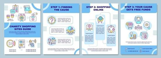 Charity shopping sites guide brochure template. Collecting cause. Flyer, booklet, leaflet print, cover design with linear icons. Vector layouts for presentation, annual reports, advertisement pages