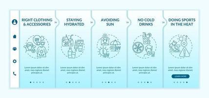 plantilla de vector de incorporación de prevención de agotamiento por calor. sitio web móvil receptivo con iconos. Tutorial de la página web Pantallas de 5 pasos. hacer deporte en concepto de color de calor con ilustraciones lineales