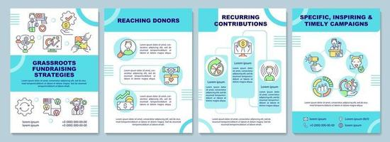 Grassroots fundraising strategies brochure template. Money collect. Flyer, booklet, leaflet print, cover design with linear icons. Vector layouts for presentation, annual reports, advertisement pages