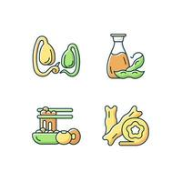 Soy meals RGB color icons set. Isolated vector illustrations. Soybeans sprouts growing. Tofu cheese skin. Vegetarian oil added to heathy meals. Organic foods simple filled line drawings collection