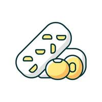 Tempeh RGB color icon. Isolated vector illustration. Soy beans preparing options. Vegeterian meals cooking. Natural meals from vegetables. Healthy nutrition diet simple filled line drawing