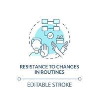 resistencia a los cambios en el icono del concepto de rutinas. autismo signo idea abstracta ilustración de línea fina. cambiar las actividades programadas. dibujo de color de contorno aislado vectorial. trazo editable vector