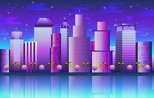 Cityscape with Buildings Background Template vector
