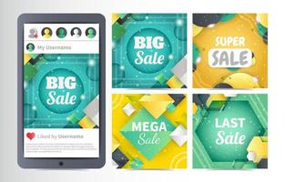 Abstract Social Media Background Template Set vector