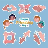 Happy Friendship Day Sticker Template Set vector