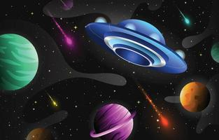 Colorful Space with UFO Background Template vector