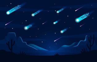 Meteor Shower at Desert vector