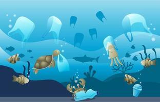 Plastic Garbage Impact in Ocean vector