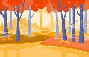 Fall on River Scenery vector