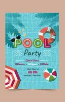 plantilla de cartel de fiesta en la piscina vector