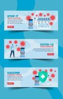 banner plano minimalista de vacuna covid 19 vector