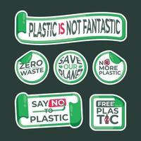 No Plastic Sticker Label Collection vector