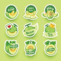 Fresh Melon Fruit Sticker Collection vector