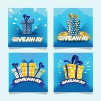 Giveaway Social Media Cards vector