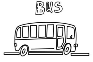 a black and white linear bus drawn with a contour line, a bus icon drawn by hand in the doodle style. vector