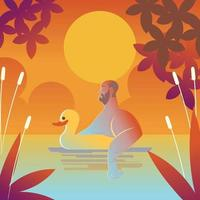 Swimming With a Duck Buoy vector