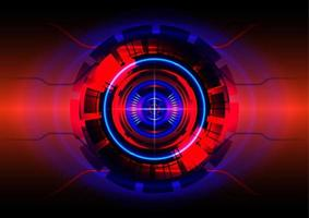 Red and blue light. Abstract hi-tech background. Futuristic interface. Virtual reality technology screen vector