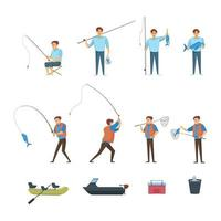 Fishing Elements Icon Set vector