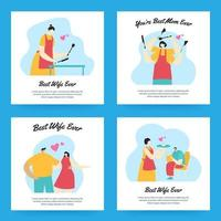 Wife Greeting Card Collection vector