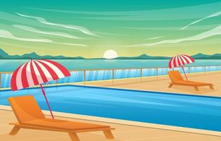 Scenery Swimming Pool Background vector