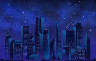 fondo de rascacielos de noche vector