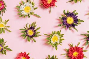 Colorful flowers arranged on a pink background photo