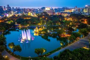Cityscape of Taichung and Zhongshan park at night photo