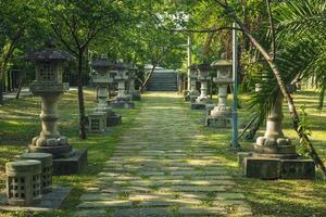Stone lanterns toro, remains of Daxi shrine in Taoyuan, Taiwan photo