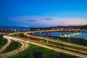 Scenery of new Taipei city by the Tamsui River photo