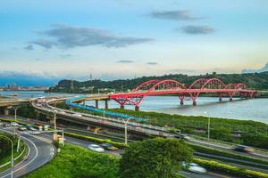 Scenery of New Taipei city by the Tamsui River, Taiwan photo
