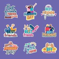 conjunto de pegatinas del día de la amistad vector