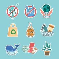 No Plastic Sticker Set vector